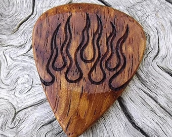 Wood Guitar Pick - Premium Quality - Handmade With Afzelia Xylay - Laser Engraved Both Sides - Actual Pick Shown