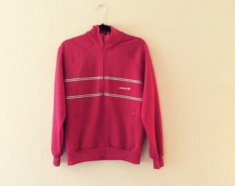 Vtg 80s Maroon Adidas Track Jacket
