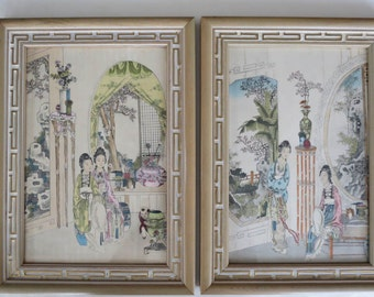 1939 Hand Colored Asian Chinese Themed Prints