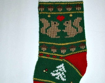 Squirrels Christmas stocking personalized hand knit. One of a kind.  RUSTIC style Holiday home decor. Christmas decoration. Ready to ship.