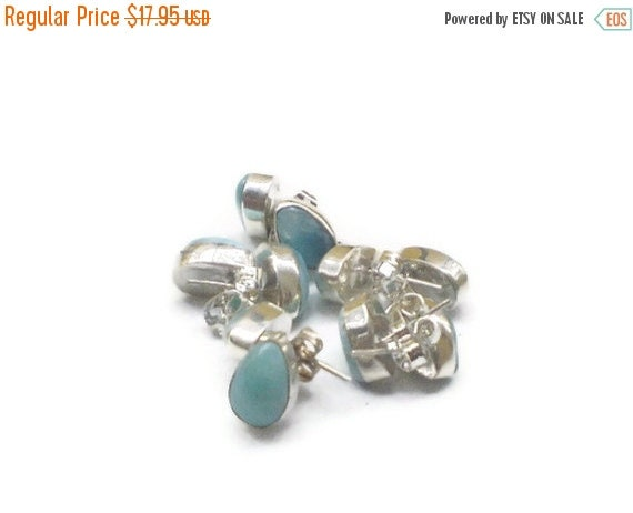 ON SALE Larimar Jewelry Gifts under 25 studs earrings Larimar earrings  Larimar Earrings  studs Teardrop 1 pair STERLING Silver 925