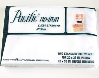 Vintage Pillowcases New In Package vintage Pacific No-Iron extra strength muslin pillow cases set of 2 new unused vintage white pillowcases