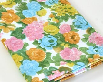 Vintage Sheet Fabric reclaimed bed sheet linen fabric retro shabby cottage chic pink yellow orange blue Rose camper decor quilting fabric