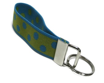 Stretch Key Fob Size Small Green with Turquoise Dots Wristlet Keychain  Holder Stretchy Bracelet Style Turquoise and Lime Green Keyholder