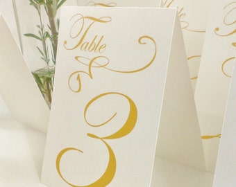 Table Markers / Table Tents / Wedding table numbers with Gold text Iridescent white Tent Style (Set of 12)