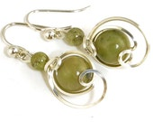 Olive Green Fine Silver Drop Earrings, Small Sage Green Jasper Asymmetrical Wire Dangle Earrings