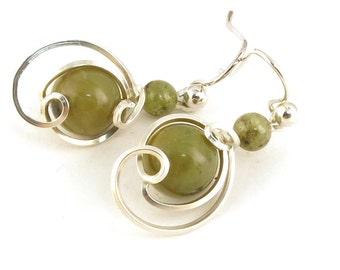 Olive Green Silver Drop Earrings, Small Sage Green Jasper Asymmetrical Wire Dangle Earrings,Olive Green Stone Argentium Silver Wire Earrings