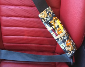 Cats Print Tri-Fold Seat Belt Pocket Pouch