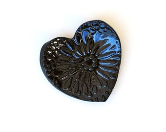 Black Heart Ring Dish - Coffee Spoon Rest - Ceramic, Pottery - Jewelry Dish, Bridesmaid Gift, Tea Bag Rest - Gifts for Her Under 10