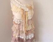 upcycled layer dress, sleeveless summer, hand stitched vintage lace, rhinestone beads, boho chic party dress