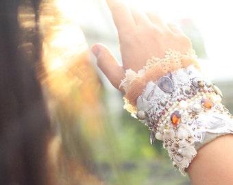 beige beaded cuff, boho beaded cuff, tea stained beaded cuff, festival embroidered cuff, textile bracelet, fiber art cuff, tattered lace cuf
