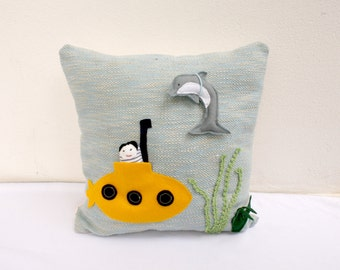yellow submarine and dolphin-  handwoven pillow toy
