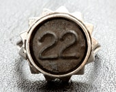 Number Ring from 1 to 25 Sterling Silver reclaimed numerals  Blue Bayer NYC