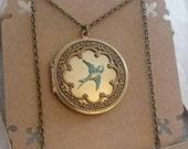 Love Bird locket - Turquoise bird locket - Vintage Ornate Locket antique brass locket.