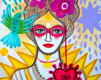 Lady Antoinette- Fine Art Print. Frida Kahlo. Mexico,art painting flowers, bohemian, folk, funky, naive, primitive.