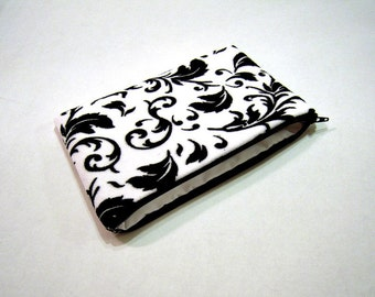 Fuzzy Black and White Scroll Clutch