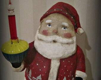 Bubble light Santa Claus papier mache folk art hand made
