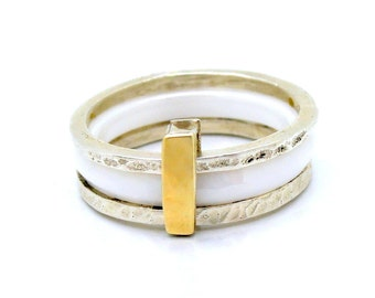 White ceramic ring stacking silver & hammered yellow gold