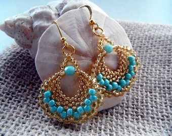 Beaded Fan Earrings - Shiny Gold Turquoise