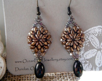 Domed Superduo Earrings with Oval Dangle Antique Bronze Topaz Brown