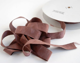 Wide Organic Ribbon - Soft Matte Brown Cotton