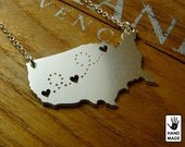 UNITED STATES Map with Three Hearts Handmade Personalized Sterling Silver .925 Necklace in a gift / present box