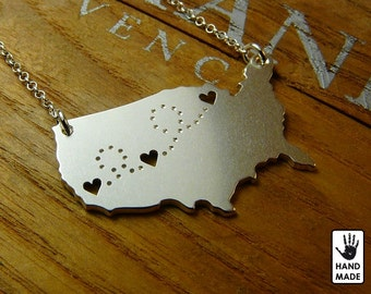 3HEART UNITED STATES Map Handmade Personalized Sterling Silver .925 Necklace in a gift box