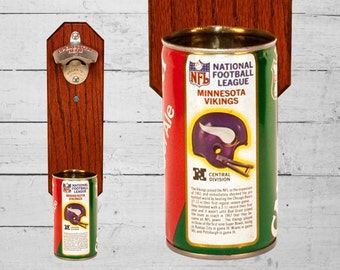 Wall Mounted Beer Bottle Opener with Vintage Minnesota Vikings Canada Dry Cap Catcher - Gift for Groomsmen