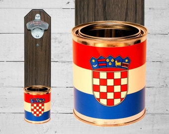 Croatian Flag Beer Bottle Opener with Wall Mounted Croatia Cap Catcher - Mancave Gift for Guy - Housewarming Gift