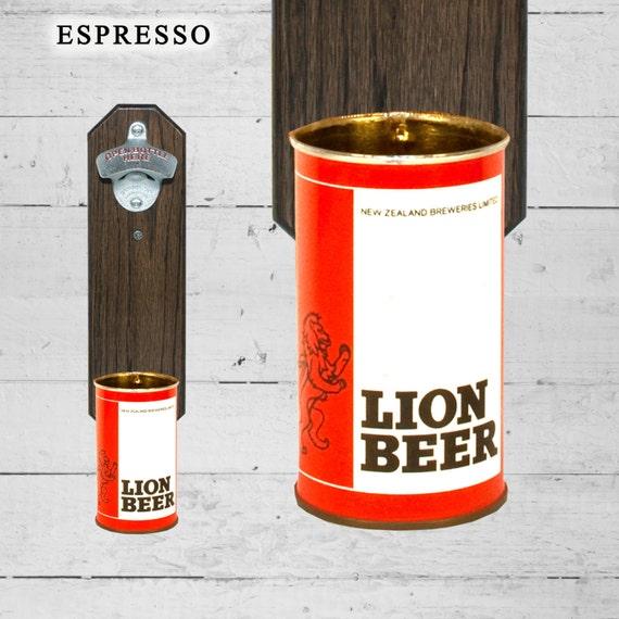 lion new zealand wall mounted bottle opener with vintage beer. Black Bedroom Furniture Sets. Home Design Ideas