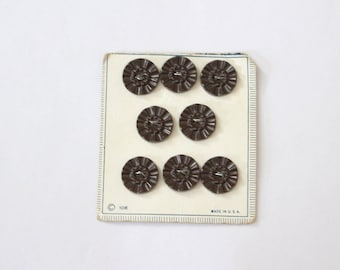 Set of 8 1940s Brown Floral Texture Buttons