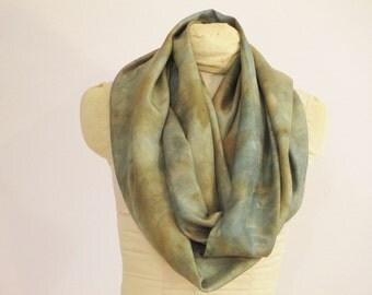 "Silk Infinity Scarf - Ecoprint - Indigo Natural Dye - Blue Green Brown - HA111508 - approx. 21""x72"" (53 x 182 cm)"