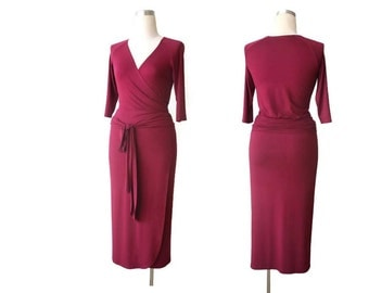Wrap dress, Bridesmaid dress, Cocktail dress, Long wrap dress, Long sleeve dress, Sexy dress, Plus Size Wrap Dress, Red wine burgundy Dress