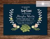 Baptism Invitation, Baptism, LDS Invitation, Christening, Floral Invite, Baptism Invite, Succulent Invite, Gender Neutral, jadorepaperie