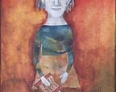 Mixed media illustration collage girl and book matted and framed original art