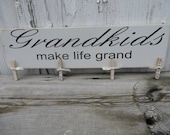 Grandkids Make Life Grand Picture Hanger/Display in Cream/Grandparent Gift/ Art Display/Photo Display - READY TO SHIP