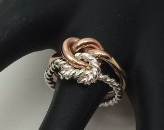 Rose gold wedding band, two tone double knot, rose and siver chunky love knot,  twisted two tone knot ring
