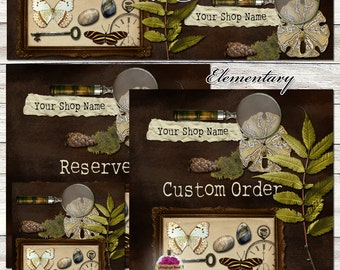 "New Sizes! ""Elementary"" Etsy Shop Set One-of-a-kind - brown, nature, science, butterfly, specimen, sand dollar, banner, graphic design,"