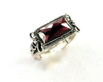 Sterling silver ring, red garnet ring, delicate silver ring, stone ring, rectangle stone ring, ornate ring - The sky is the limit R1400