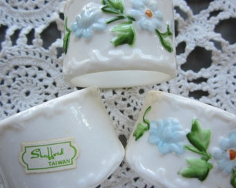 Vintage Bone China Napkin Rings by Shafford Set of 6 Original Box Cottage Chic