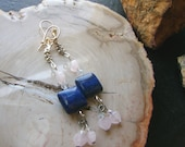 RESERVED LISTING for Mary Anne-Rose Quartz Heart Gemstone Earrings -In The Pink with Lapis