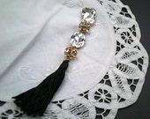 Dazzling Rhinestone Tassle, Black Fringe, Clear Decorative Rhinestones, Jewelry Making, DIY