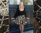 Spiderweb Circle Skirt on Black Tulle and Silver Sequins