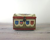 Vintage Tin Treasure Box Red and Gold Box with Knights, Heralds, Castle Medieval Times Scene