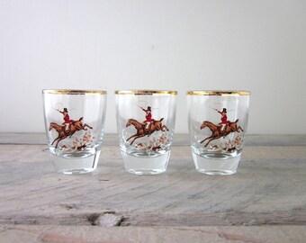Vintage Hunting Horse Riding Shot Glasses Set of 3 Barware
