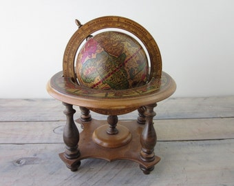 Vintage Wood Globe Made in Italy