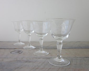 Vintage Etched Stemmed Cocktail Glasses Set of Four