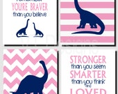 Dinosaur Decor, Brother Sister Wall Art, Dinosaur Nursery Art, Pink, Navy, Promise Me You'll Always Remember, Set of 4, Prints or Canvas