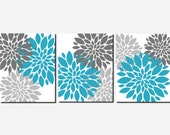 Teal Grey Wall Art Prints or Canvas Girls Bedroom Art Bathroom Pictures Living Room Wall Art Flower Burst Floral Peony Set of 3