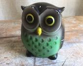 Vintage piggy bank owl green yellow grey ceramaster made in japan